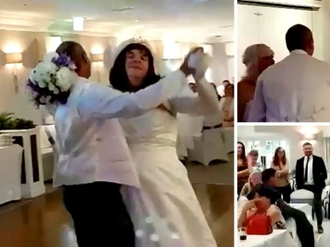 Man in wedding dress drag crashes couple's first dance