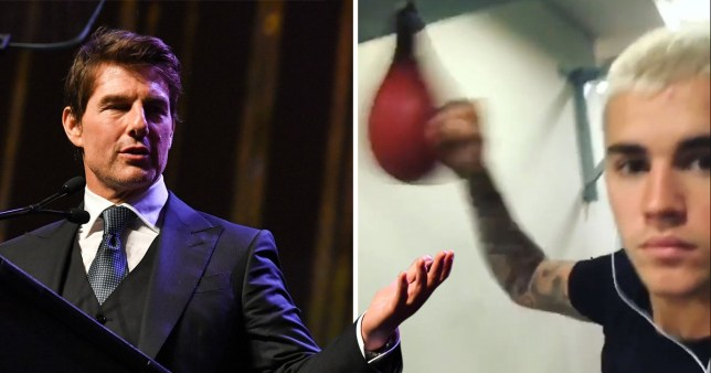 Tom Cruise and Justin Bieber boxing