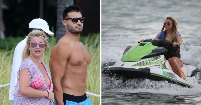 Britney Spears holds hands with boyfriend Sam Asghari on a beach in Miami