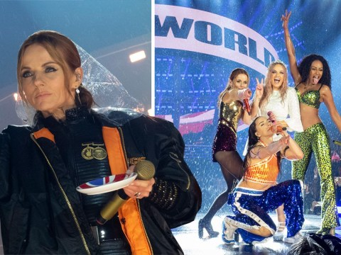 Spice Girls won't let rain ruin their show as they warm up with cups of tea on stage