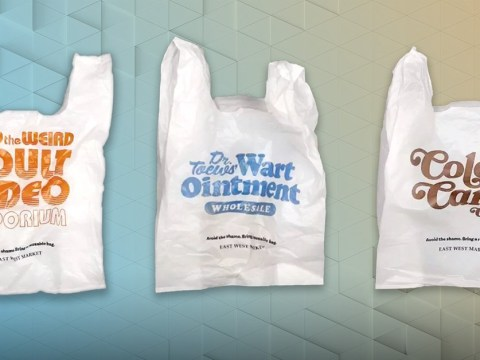 These embarrassing shopping bags are designed to shame people into using less plastic