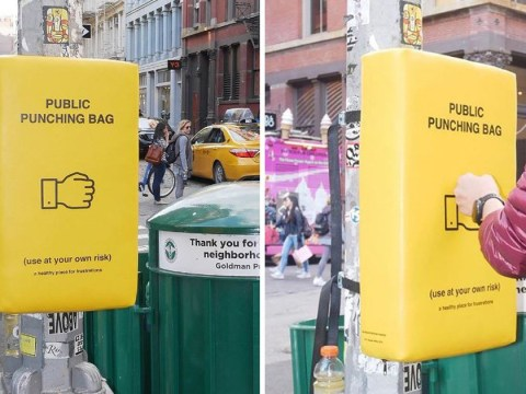 Public punching bags placed across New York to help people who are stressed out