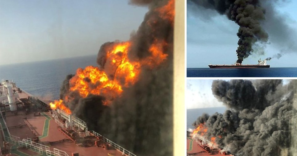Fire rages through oil tanker that was attacked near the Gulf of Oman