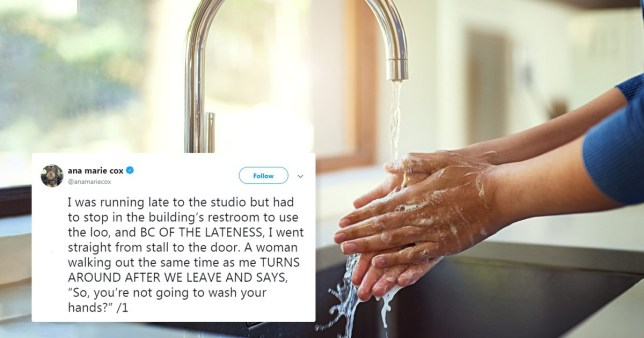columnist Ann Marie Cox revealed on the social media platform that she once skipped washing her hands 'because of the lateness'