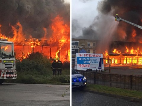 Huge fire breaks out at abandoned hotel near Middlesbrough