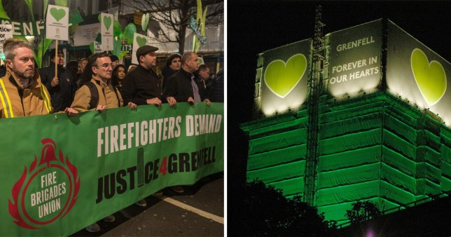 Firefighters protesting for Grenfell survivors and a picture of the tower lit up in green yesterday
