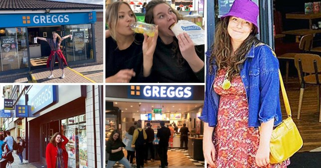 Mairead trying a vegan sausage roll, posing outside and inside Greggs store