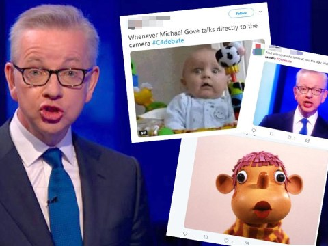 Twitter begs Michael Gove to stop staring into the camera during Tory leadership debate