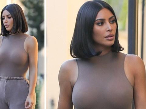 Kim Kardashian somehow makes tracksuit bottoms look glam as she rocks Yeezy palette