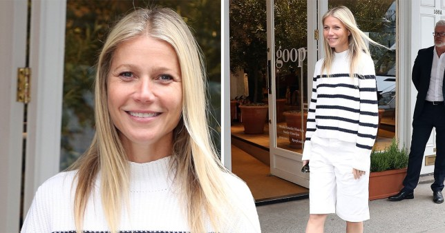 Gwyneth Paltrow glows in stripes as she visits Notting Hill's Goop empire