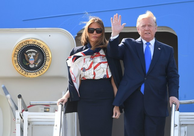 Donald Trump and Melania Trump stepping out of Air Force One