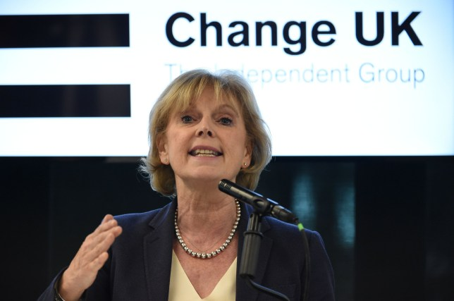 Change UK MP Anna Soubry speaks during a European Parliament election campaign rally at the Manchester Technology Centre in Manchester, northwest England, on May 21, 2019. - Despite voting in a referendum to leave the European Union in 2016 Britain is braced to take part in the European Parliament election on May 23. (Photo by Paul ELLIS / AFP)PAUL ELLIS/AFP/Getty Images