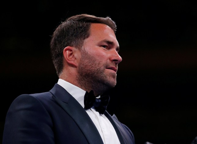 """Boxing - Katie Taylor v Delfine Persoon - WBA, WBO, IBF, WBC & Ring Magazine Womens World Lightweight Titles - Madison Square Garden, New York, United States - June 1, 2019 Edward """"Eddie"""" Hearn, boxing promoter, before the fight between Katie Taylor and Delfine Persoon Action Images via Reuters/Andrew Couldridge"""