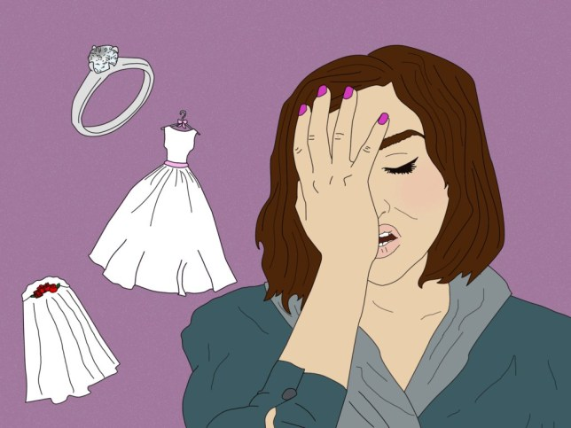 Illustration of woman looking stressed and holding her hand on her face, with a purple background which includes a wedding dress, veil and wedding ring