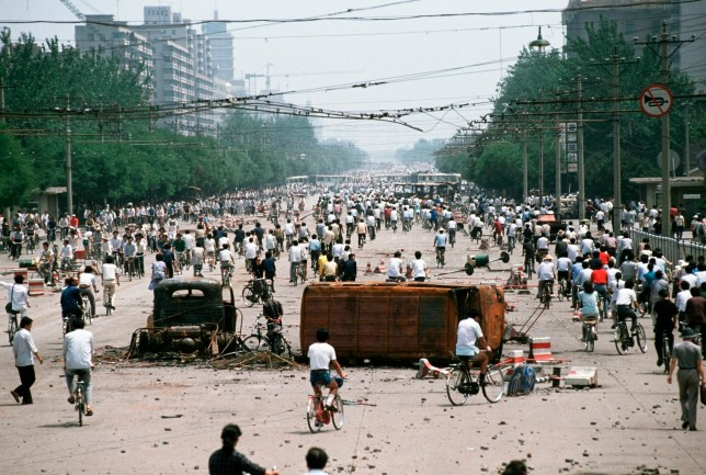 Tiananmen Square in Beijing after the protests in 1989