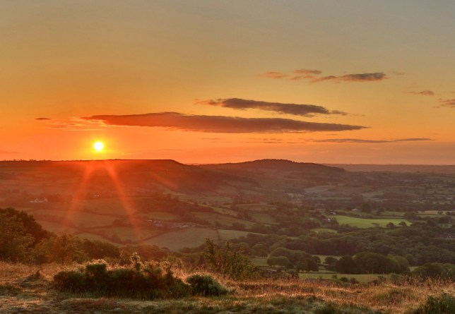 A beautiful sunrise over the Marshwood Vale from Lambert's Castle, Dorset this morning. June 5, 2019.