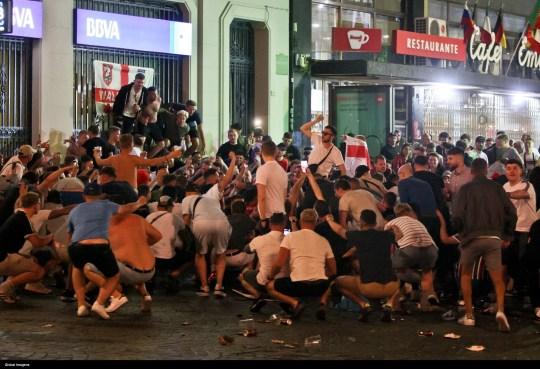 SIPA USA via PA Images Porto, 06/06/2019 - English supporters cause disrespect at Avenida dos Aliados in Porto, after the game of Portugal Police control the fans. (Jos? Carmo / Global Images/Sipa USA)