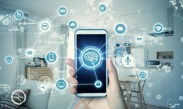 Smart house concept. Communication network of residence. Energy management system. IoT. AI.