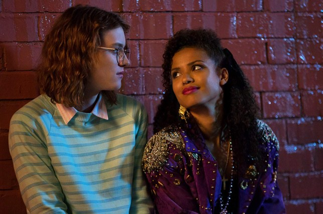 Gugu Mbatha-Raw, who plays Kelly, and Mackenzie Davis, who plays Yorkie in Black Mirror's season three episode San Junipero