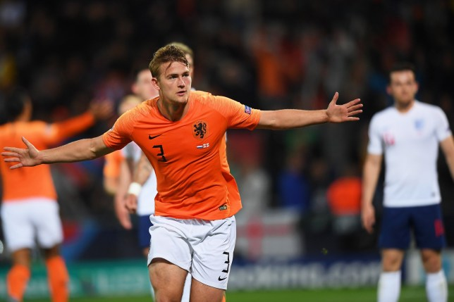 epa07631385 Matthijs de Ligt of the Netherlands celebrates after scoring the 1-1 equalizer during the UEFA Nations League semi final soccer match between the Netherlands and England at D. Afonso Henriques stadium in Guimaraes, Portugal, 06 June 2019. EPA/HUGO DELGADO