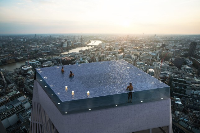 Death defying swimming pools are set to become the newest architectural trend in central London, allowing visitors to float over 200 metres above the capital's skyline.