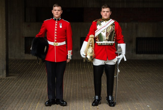 Guardsman Thomas Dell of the Grenadier Guards (left) and his twin brother Trooper Ben Dell of the Household Cavalry, who will both take part in the Trooping the Colour ceremony on June 8th, which marks Queen Elizabeth II's official birthday. PRESS ASSOCIATION Photo. Picture date: Tuesday June 4, 2019. Photo credit should read: Dominic Lipinski/PA Wire