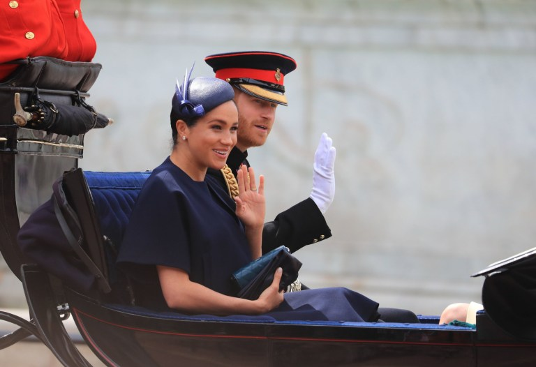 The Duke and Duchess of Sussex make their way along The Mall to Horse Guards Parade, in London, ahead of the Trooping the Colour ceremony, as The Queen celebrates her official birthday. PRESS ASSOCIATION Photo. Picture date: Saturday June 8, 2019. See PA story ROYAL Trooping. Photo credit should read: Gareth Fuller/PA Wire