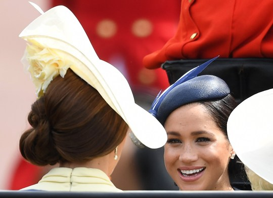 The Duchess of Cambridge and The Duchess of Sussex attend Trooping the Colour at Buckingham Palace, London, UK, on the 8th June 2019. Picture by James Whatling