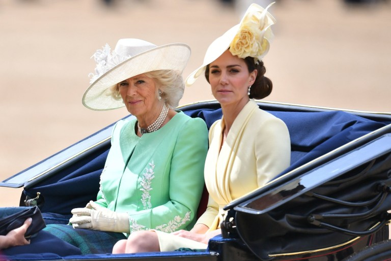 The Duchess of Cambridge and the Duchess of Cornwall arrive for the Trooping the Colour ceremony at Horse Guards Parade in central London, as the Queen celebrates her official birthday. PRESS ASSOCIATION Photo. Picture date: Saturday June 8, 2019. The colour, or ceremonial regimental flag, being paraded this year is from the 1st Battalion Grenadier Guards. See PA story ROYAL Trooping. Photo credit should read: Dominic Lipinski/PA Wire
