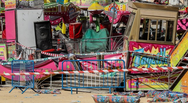 A view of damage to an amusement ride after an accident occurred in the early hours at a fairground in San Jose de la Rinconada, Seville, Spain