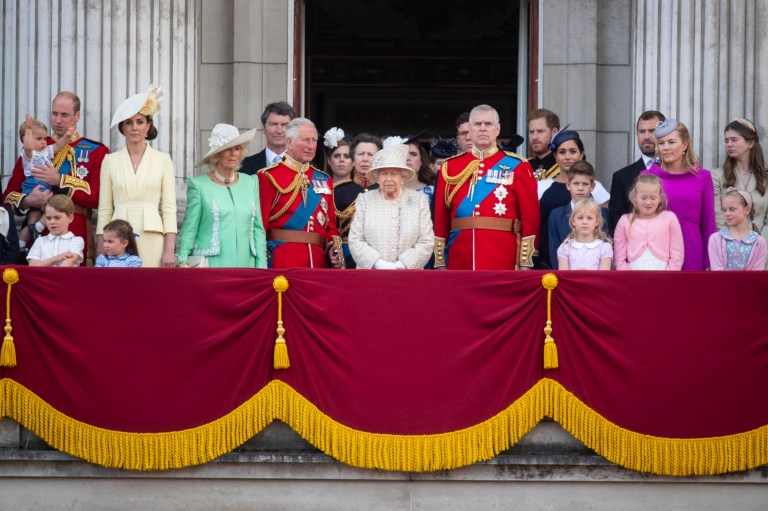 Queen Elizabeth II is joined by members of the royal family on the balcony of Buckingham Place to acknowledge the crowd after the Trooping the Colour ceremony, as she celebrates her official birthday. PRESS ASSOCIATION Photo. Picture date: Saturday June 8, 2019. See PA story ROYAL Trooping. Photo credit should read: Victoria Jones/PA Wire