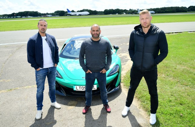 EMBARGOED TO 0001 MONDAY JUNE 10 (left to right) Paddy McGuinness, Chris Harris and Freddie Flintoff with a McLaren 600LT on the Top Gear test track in Dunsfold Park, Cranleigh, during the media launch for the new series of Top Gear which airs later this month. PRESS ASSOCIATION Photo. Picture date: Thursday June 6, 2019. Photo credit should read: Ian West/PA Wire