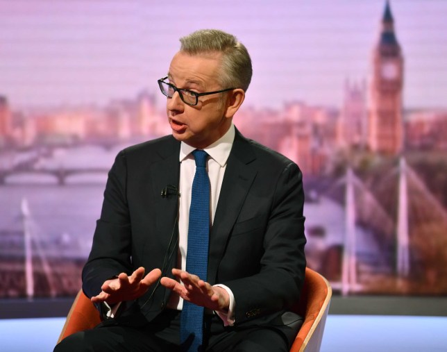 LONDON, ENGLAND - JUNE 9: (NO SALE/NO ARCHIVE) In this handout image released today and provided by the BBC, Michael Gove appears on The Andrew Marr Show on June 9, 2019 in London, England. Gove unveils plans to scrap VAT after Brexit if he becomes PM. (Photo by Handout/Jeff Overs/BBC via Getty Images)