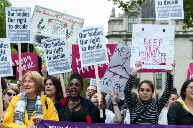 Pro-choice supporters stage a demonstration in Parliament Square to campaign for women's reproductive rights, legalisation of abortion in Northern Ireland and it's decriminalisation in the UK on 11 May, 2019 in London, England. The demonstration is a counter-protest to the anti-abortion 'March for Life' taking place alongside. (Photo by WIktor Szymanowicz/NurPhoto via Getty Images)