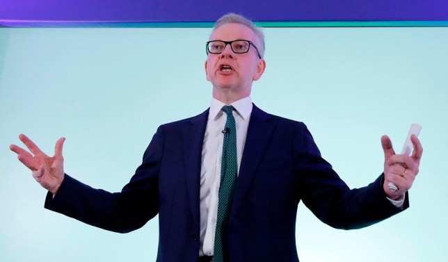 Britain's Environment, Food and Rural Affairs Secretary Michael Gove launches his Conservative Party leadership campaign in London on June 10, 2019. - Around a dozen British Conservative MPs will formally throw their hats into the ring on Monday in the fight to replace Theresa May as party leader and Prime Minister, with her former foreign secretary Boris Johnson seen as the runaway favourite. (Photo by Tolga AKMEN / AFP)TOLGA AKMEN/AFP/Getty Images