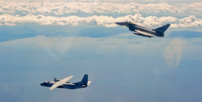 epa07640590 A handout picture provided by the British Royal Air Force (RAF) shows a Russian Antonov AN-26 transport aircraft (L) and an RAF Typhoon jet flying along the Baltic coast, 10 June 2019 (issued 11 June 2019). According to the British Ministry of Defence, RAF fighter jets intercepted two Russian transport aircraft that were flying close to Estonian airspace. EPA/RAF/BRITISH MINISTRY OF DEFENCE/HANDOUT MANDATORY CREDIT: MOD/CROWN COPYRIGHT HANDOUT EDITORIAL USE ONLY/NO SALES