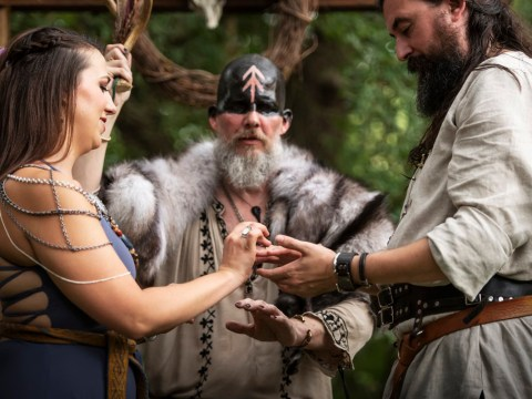 This couple had a traditional viking wedding complete with blood offering