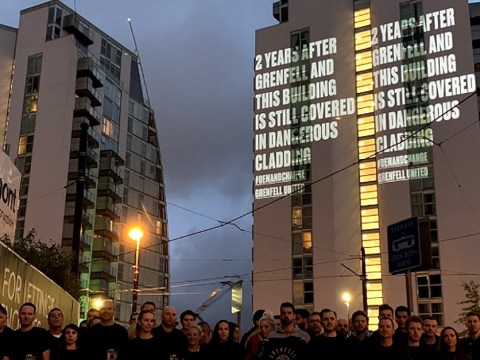 Grenfell campaigners illuminate tower blocks to warn of fire concerns