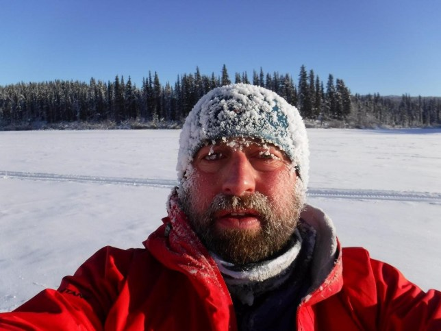 Nick Griffiths in Canada during the endurance race. See Ross Parry story RPYFOOT; A Bolton, Lancs., dad could lose part of his foot to frostbite -- after competing in the world's coldest ultra-marathon where temperatures plunge to -50C.