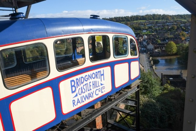 Bridgnorth, United Kingdom - November 4, 2013: The cliff funicular railway at Bridgnorth in Shropshire, United Kingdom. The cliff railway opened in 1891 and transports up to 32 people in a carriage up and down the 111ft cliff face everyday of the week avoiding the need to climb up the 200 step stairway.