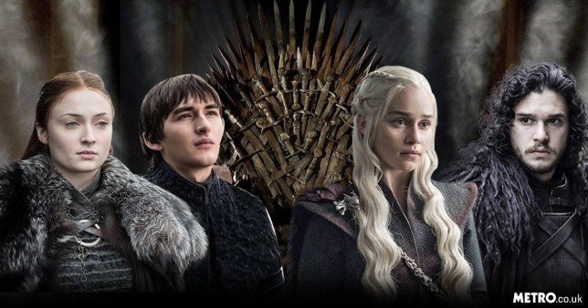 Sophie Turner as Sansa Stark, Isaac Hempstead-Wright as Bran Stark, Emilia Clarke as Daenerys Targaryen, Kit Harington as Jon Snow in Game Of Thrones
