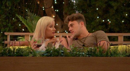 Amy Hart and Curtis Pritchard on Love Island
