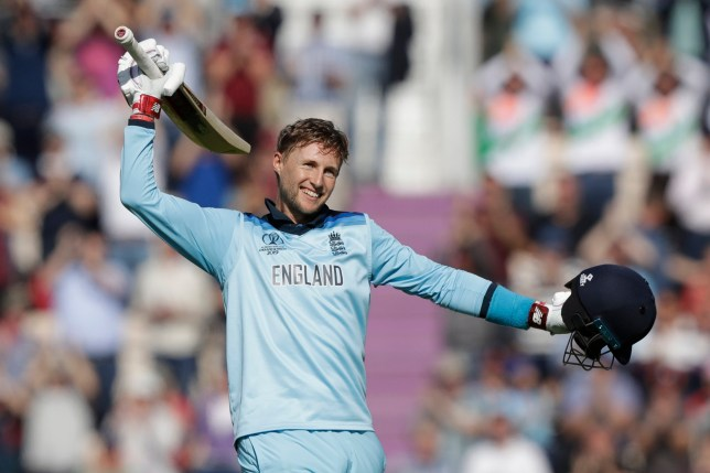 England's Joe Root celebrates his century during the Cricket World Cup match between England and West Indies at the Hampshire Bowl in Southampton, England, Friday, June 14, 2019. (AP Photo/Matt Dunham)