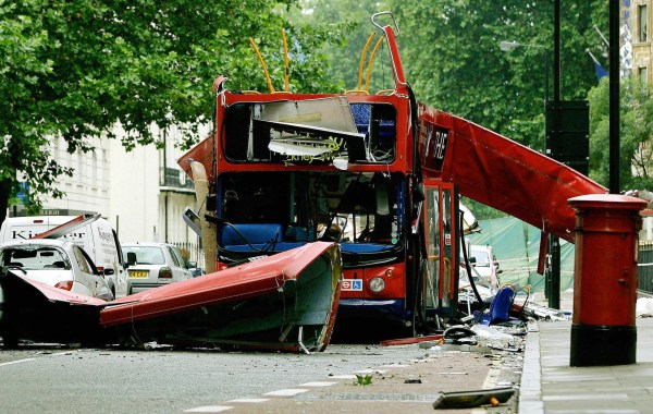 LONDON, United Kingdom: (FILES) The wreck of the Number 30 double-decker bus is pictured in Tavistock Square in central London, 08 July, 2005. The chances of preventing the July 7 attacks might have been greater had different investigative decisions been made by the Security Service, an official report concluded Thursday. The report also highlighted the fact that Britain's security services were ill-equipped to prevent the July 7 London bombings because of a lack of resources. AFP PHOTO/DYLAN MARTINEZ/WPA POOL (Photo credit should read DYLAN MARTINEZ/AFP/Getty Images)