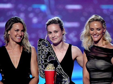 Brie Larson brings Captain Marvel stunt doubles on stage at MTV Movie and TV Awards