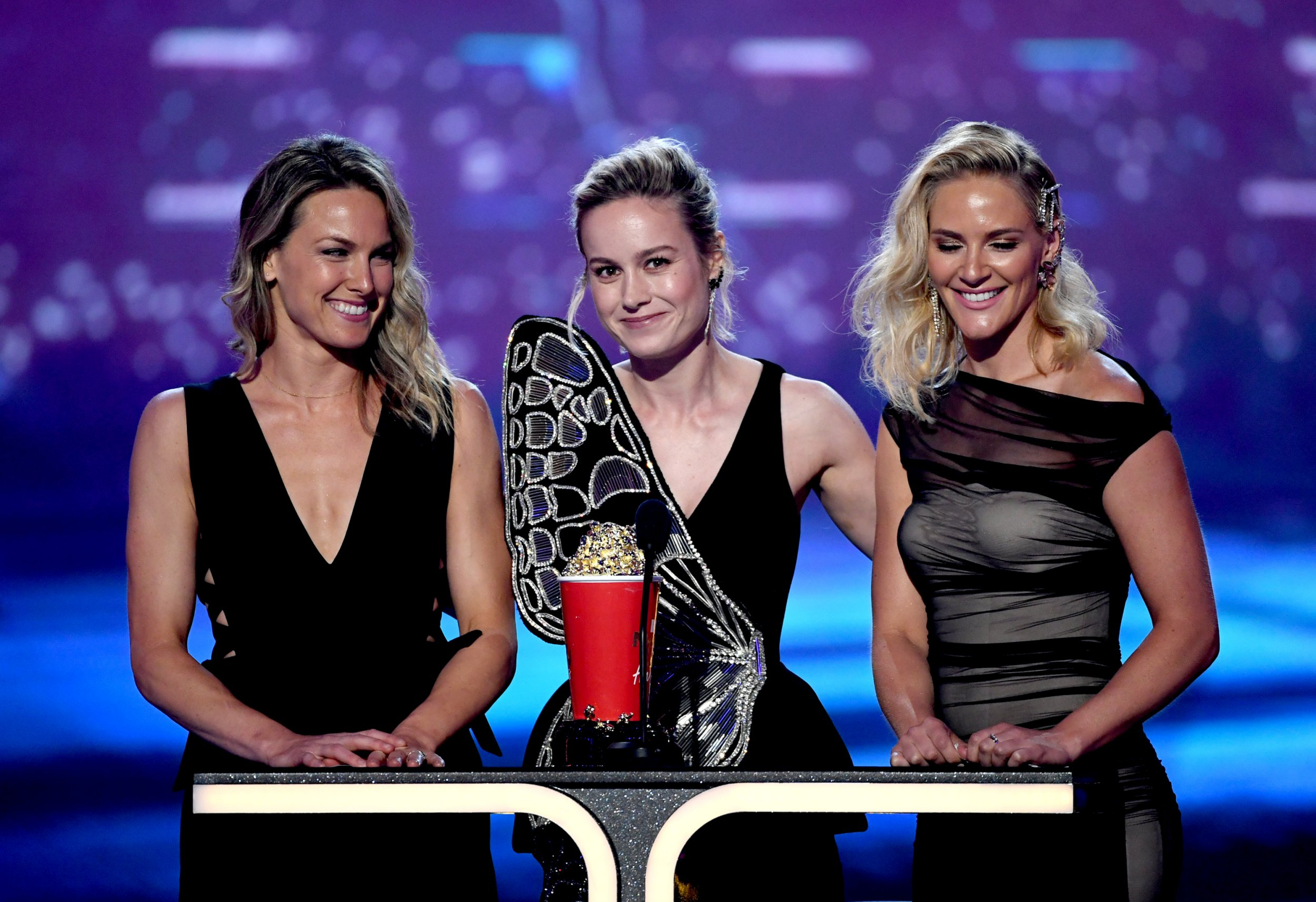 Brie Larson and attempt doubles Ingrid Kleinig and Joanna Bennet