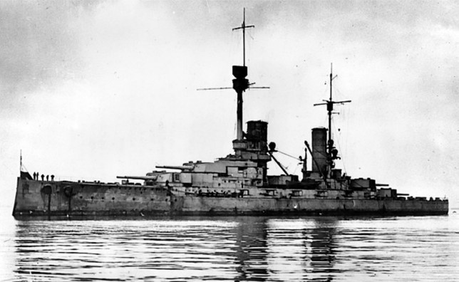 One of the WWI German battleships which was scuttled at Scapa Flow