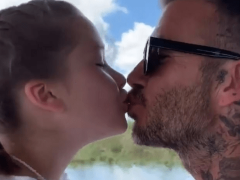 David Beckham is ignoring the trolls as he sweetly kisses Harper on the lips again in new video