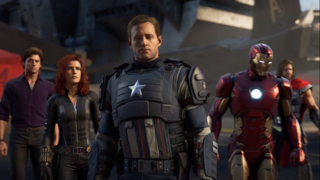 Captain America, iron Man, Black Widow, Thor and the Hulk in the Marvel's Avengers game