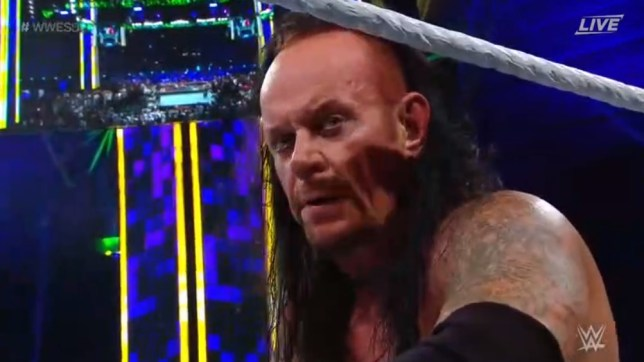 The Undertaker looked angry after his mess of a match against Goldberg at WWE SuperShowdown